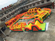 30 * 30m Yellow Square Giant Inflatable Obstacle Course For Outdoor Game