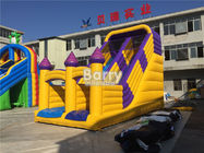 China Yellow Small Castle Theme Kids Blow Up Slide / Inflatable Cartoon Dry Slide factory