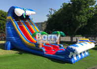 Giant Inflatable Water Slides For Adult , Commercial 24′ Shark Sighted Dual Lane Slide ,