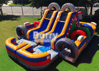 Commercial Inflatable Obstacle Course For Kids / 30 FT Racing Wet Day Obstacle Course