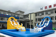 Customized Size Inflatable Water Slides With Swimming Pool For Business Rent