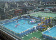 Outdoor Square Metal Frame Pool , Metal Frame Swimming Pool For Rental