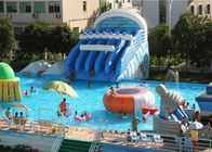China Giant Metal Frame Pool , Above Ground Pool Water Slide For Amusement Park company