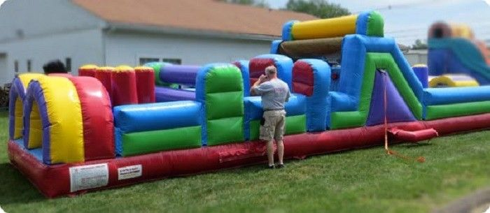 Giant Pool Inflatable Obstacle Course 40 Foot Kids Obstacle Course Water Slide