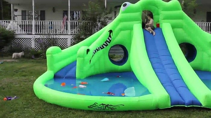 Commercial Inflatable Water Park , Green Inflatable Water Slide Pool