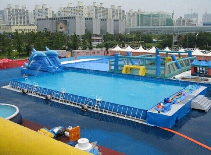 Durable Backyard Ground Metal Frame Pool Blue Inflatable Swimming Pool 0.9 PVC Tarpaulin