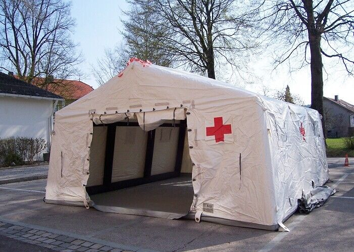China Removeble Air Tight Army Inflatable Medical Tent 0.65mm PVC Tarpaulin factory
