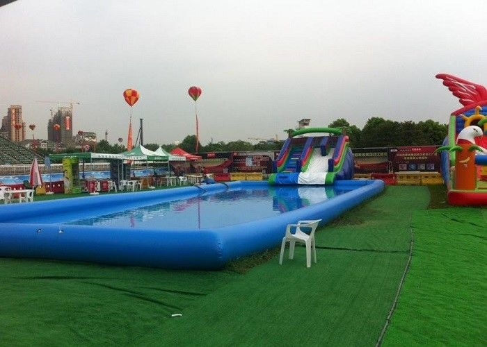 China Blue Large Inflatable Kids Swimming Pool With Slide For Inground Pools factory