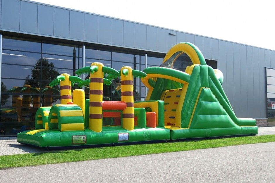 Plato PVC Green Rent Inflatable Obstacle Course Backyard Inflatable Outdoor  Play Equipment