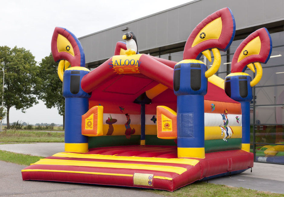 Saloon Kids Red Commercial Jumping Castles Birthday Party Bounce