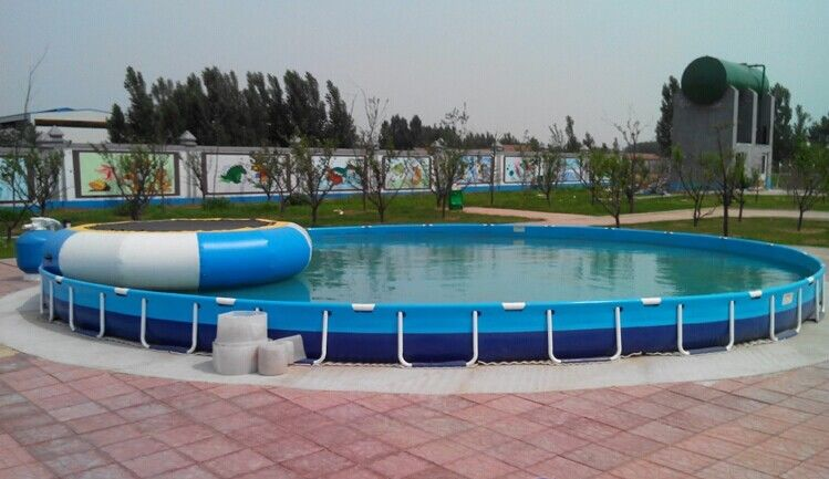 Family Entertainment Metal Framed Swimming Pools Round Custom Made