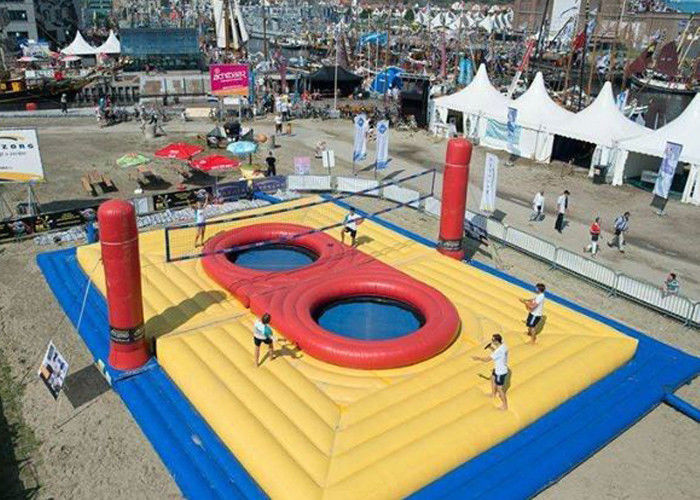 China Beach Inflatable Volleyball Court For Rental / Jumping Trampoline Inflatable Volleyball Field factory