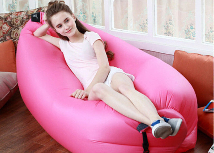 China Outdoor Inflatable Toys 225*85cm Fast Beach Sleeping Bag Lazy Lounge Bed 14 Colors factory