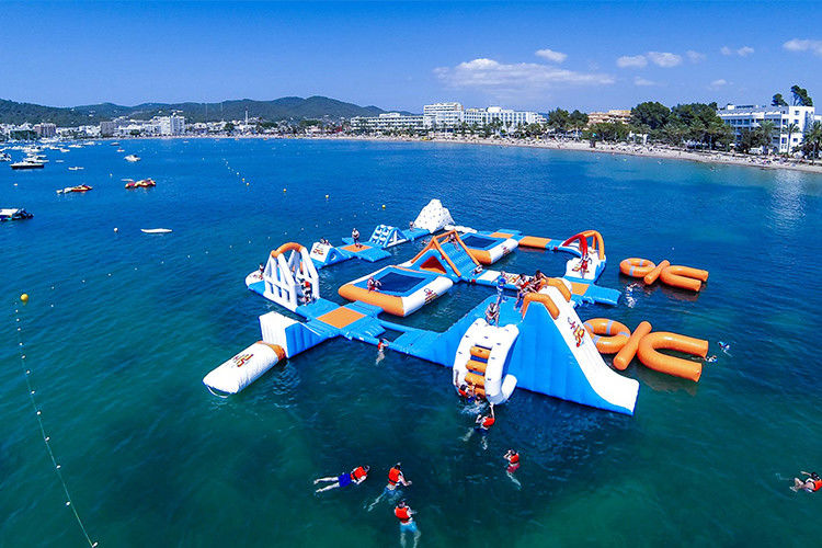 Giant Adult Giant Blue inflatable sport park For Wake Island ,Water sports equipment For Ocean