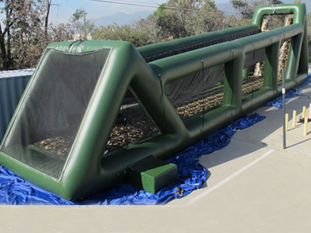 China High 80ft Green Inflatable Sports Games Long Giant Inflatable Zip Line For Adults factory