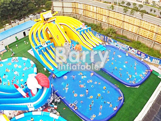 Spongebob Cartoon Inflatable Water Park Big Capacity With 2 Pools / 3 Lane Slide