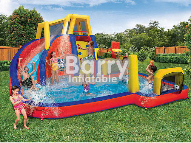 China Mobile Attraction Inflatable Water Park Equipment , Splash Water Park For Little Kids factory
