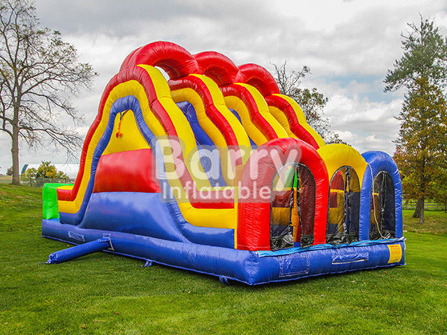 China 3 Lane Alternate Big Inflatable Obstacle Course With 0.55mm Pvc Material factory