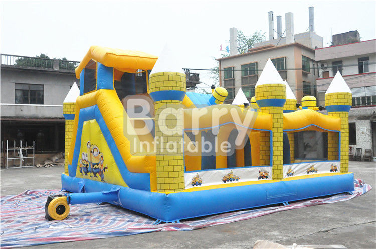 China Outdoor Kids Minions Inflatable Bouncy Castle With Slide 0.55MM PVC Tarpaulin factory
