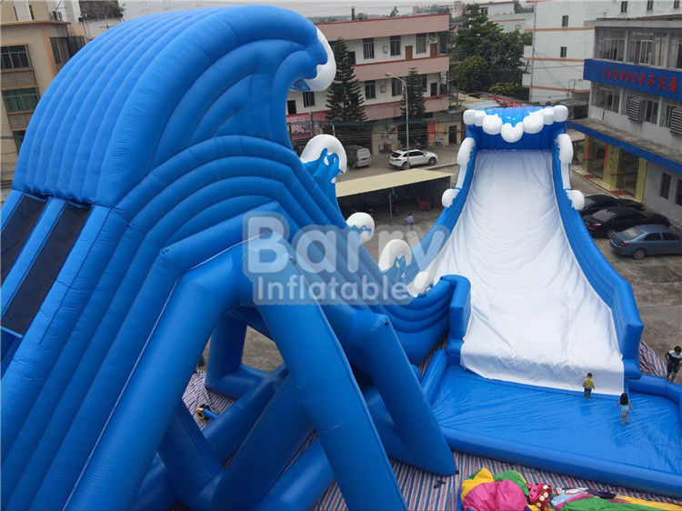 Blue Wave 36 * 20 * 15m Giant Inflatable Water Slide With Pool CE/UL Blower