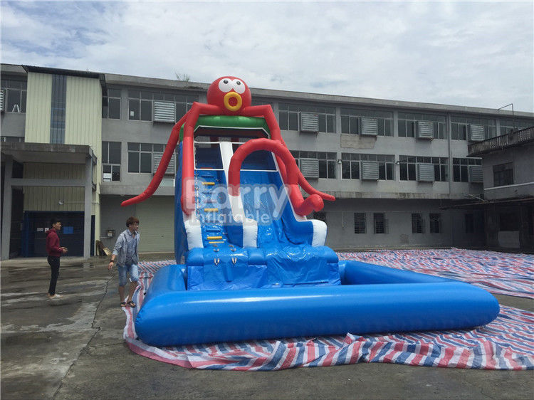China Commercial Grade Octopus Inflatable Water Slide With Small Detachable Pool factory