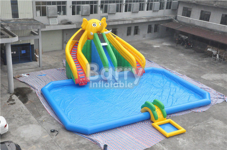 China Mobile Large Commercial Inflatable Water Park With Elephant Slide Design Build factory