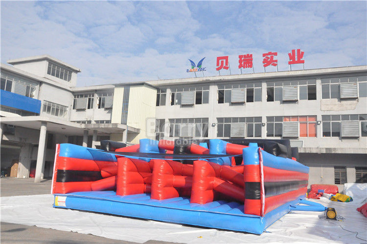 China Hot Red 5K Insane Inflatable Obstacle Course For Running Race , Sling Shot 5K Course factory