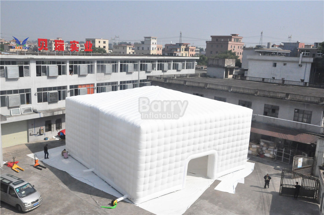 China White 15x15M Inflatable Tent , Custom Made Led Inflatable Party Tent Cube For Event factory