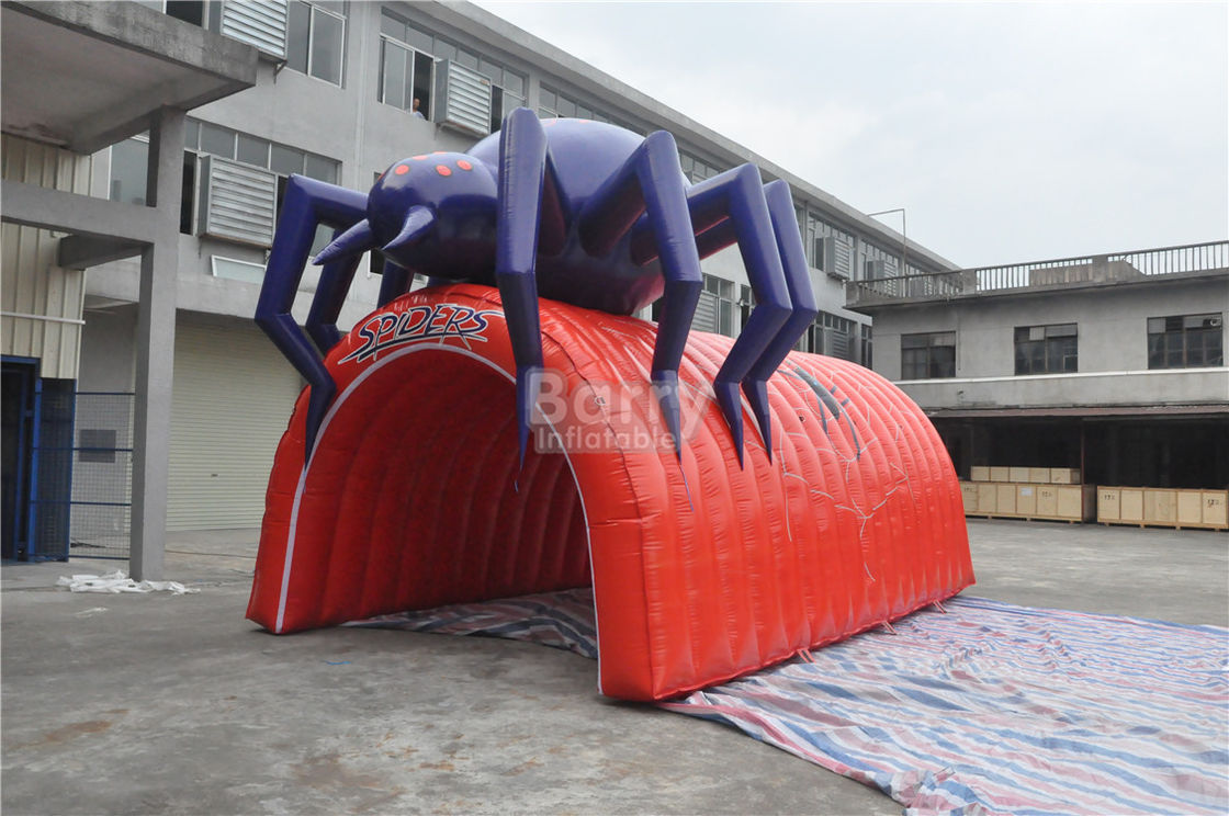 China Waterproof PVC Red Cool Spider Design Giant Inflatable Football Tunnel , Inflatable Tunnel Tent factory