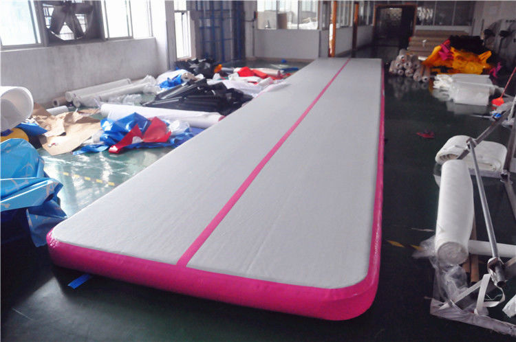 China Pink Small Blow Up Gymnastics Mat , Inflatable Tumble Track For Home factory