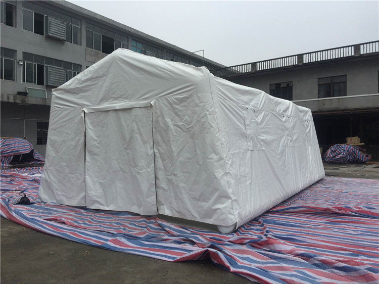 China PVC Air Tight White Inflatable Emergency Tent , Hospital Inflatable Army Medical Tent factory
