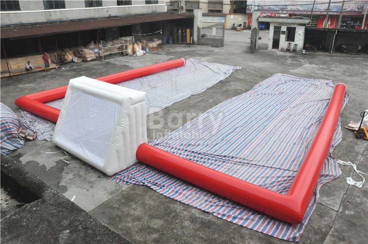 Red Air Sealed Big Inflatable Football Field , Inflatable Soccer Court supplier