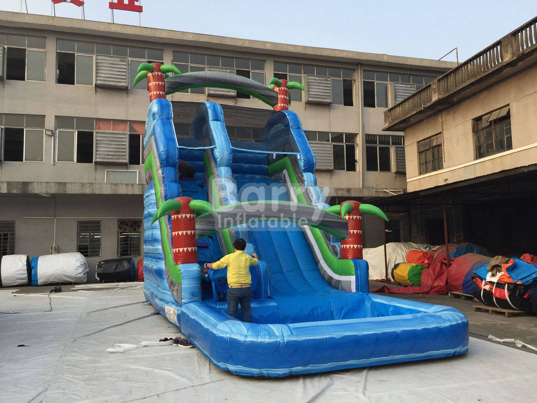 China Summer Palm Tree Inflatable Outdoor Water Slide With Printing factory