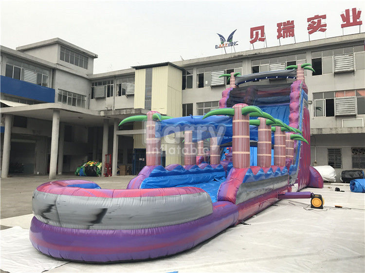 China Purple Adult Kids Inflatable Water Slides With Pool , Slip n Slide factory