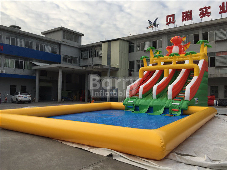 China Custom Dinosaur Slide Inflatable Water Park With Pool For Summer factory