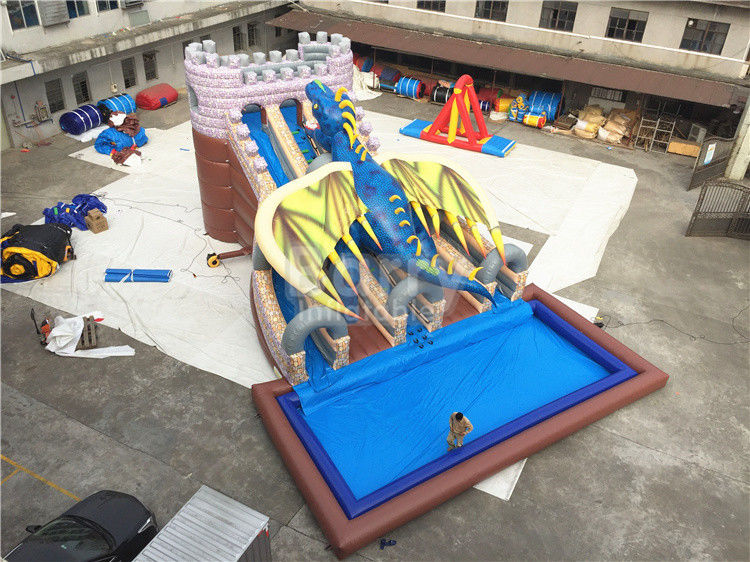 China Industrial Commercial Grade Dragon Big Inflatable Water Slides 15*11*8m Customized factory