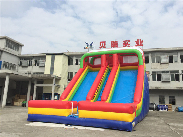 Commercial Rainbow Double Lanes Inflatable Dry Slide For Kids With Logo Printing