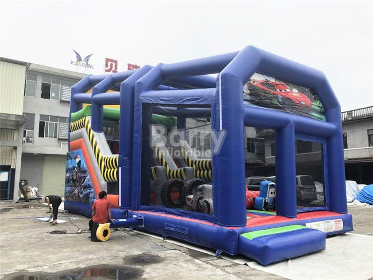 China Outdoor Cartoon Inflatable Bouncy Slide For Kids / Toddler With Shelter Cover factory