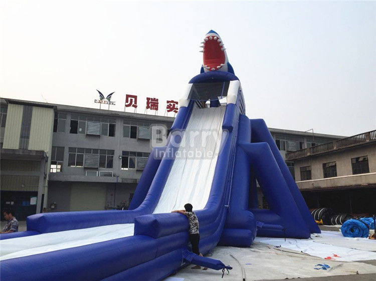 Commercial Giant Sharp Long Inflatable Slip N Slide for Kids / Adult Aqua Park