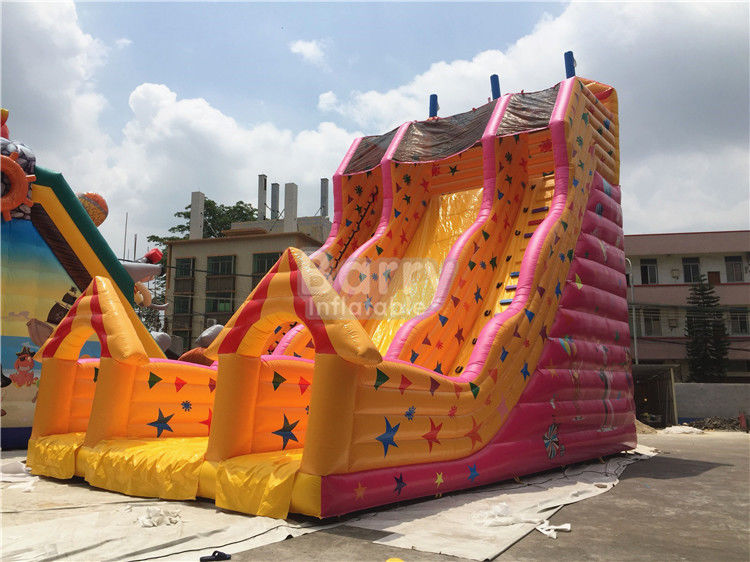 China Custom Made Kids Inflatable Slide Single Lane Yellow 12x7x10m factory