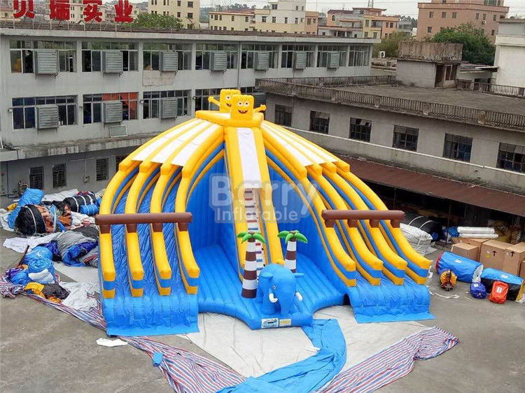 China Yellow And Blue Spongebob Inflatable Water Slides For Pool With Digital Printing factory