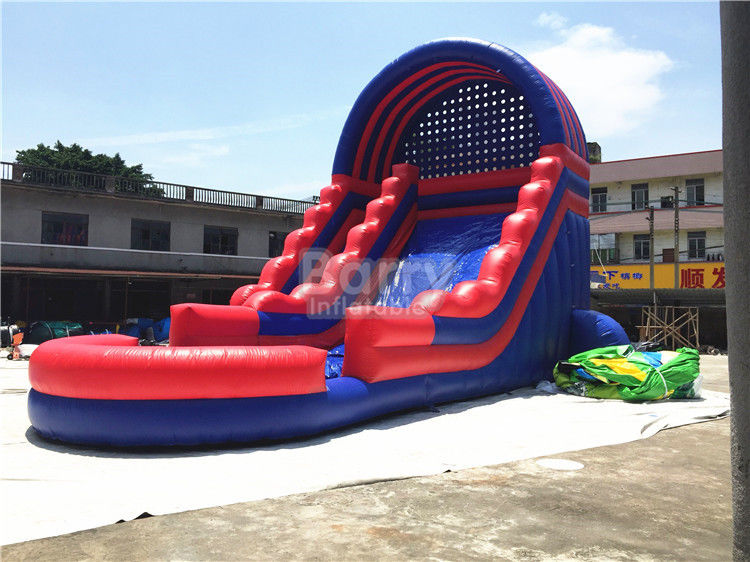 China Summer Kids / Adult Inflatable Water Slides With Blower Blue And Red factory