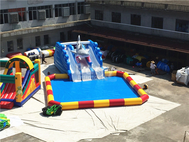 China Outdoor Big Amazing Portable Blast Sharp Slide Inflatable Floating Water Park factory