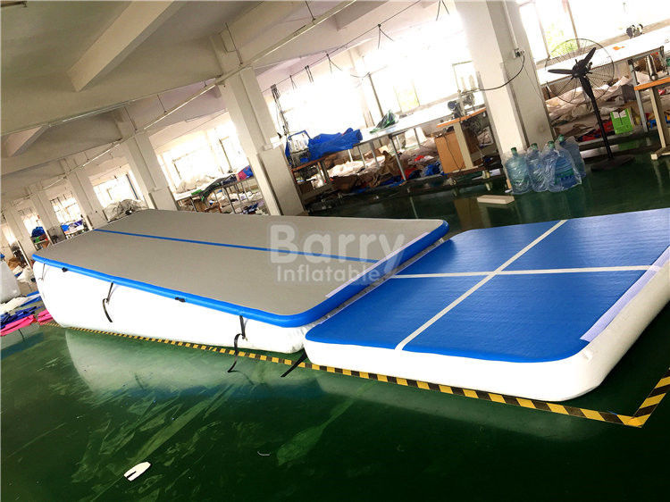 China Double Wall Fabric Blue Floating Water Inflatable Air Track Ramp For Slide factory