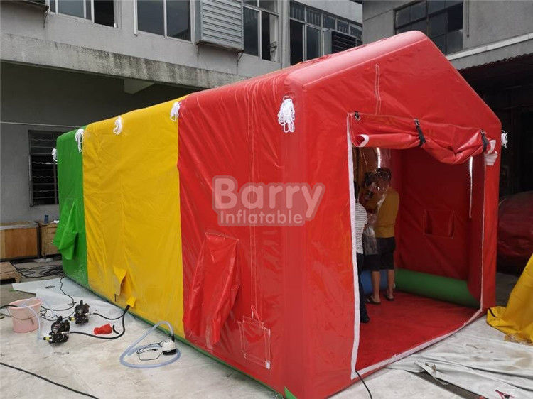 China Small Custom Fireproof PVC Inflatable Shower Tent For Amusement Park factory