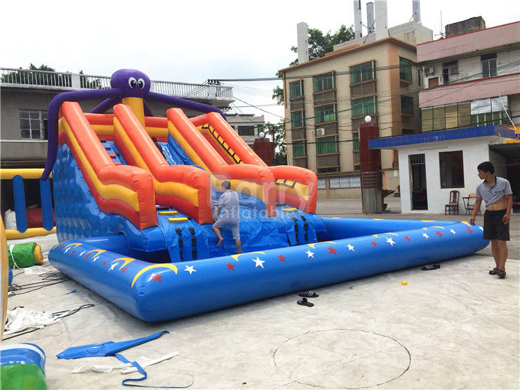 China Large Octopus Inflatable Water Park , Inflatable Pool Slide On Land Park factory