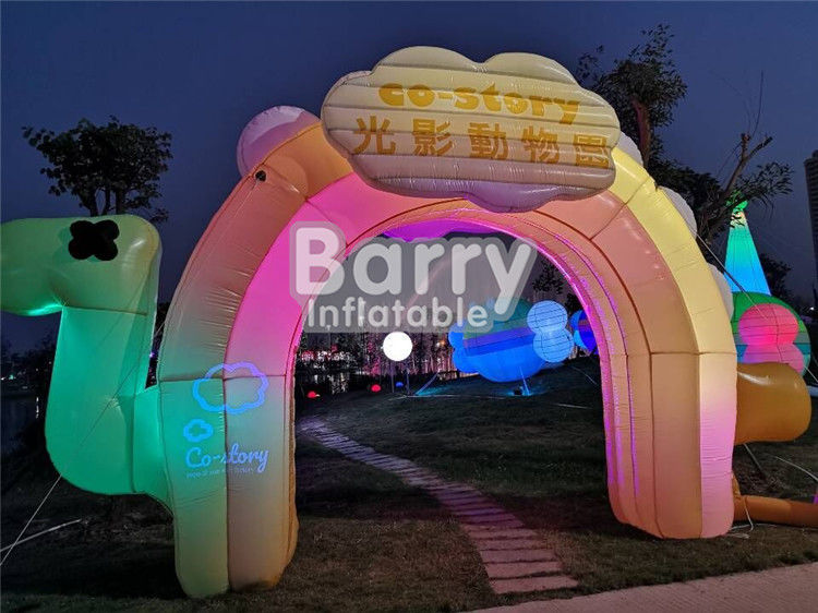 China Entrance Colorful Inflatable Advertising Products , LED Advertising Blow Up Arch For Commercial factory