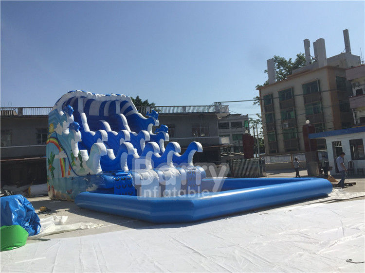China Outdoor Wave Inflatable Water Pool Slip N Slide / Water Sport Games PVC Tarpaulin Material factory