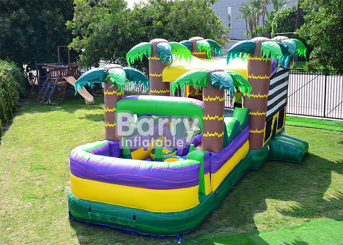 30 FT Palm Beach Obstacle Bounce House , Inflatable Bouncy Castle With Water Slide supplier