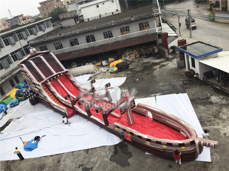 China Giant Long Pirate Theme Inflatable Slip N Slide Water Slide With Pool For Big Event factory